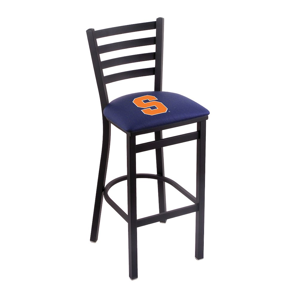 """L004 - 30"""" Black Wrinkle Syracuse Stationary Bar Stool with Ladder Style Back by Holland Bar Stool Co.. Picture 1"""