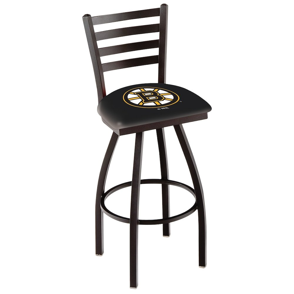 """L014 - 36"""" Black Wrinkle Boston Bruins Swivel Bar Stool with Ladder Style Back by Holland Bar Stool Co.. Picture 1"""