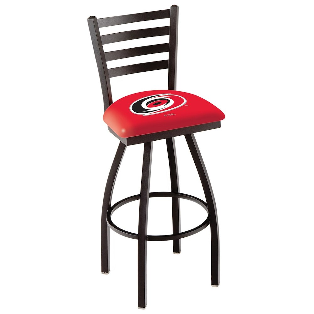"""L014 - 36"""" Black Wrinkle Carolina Hurricanes Swivel Bar Stool with Ladder Style Back by Holland Bar Stool Co.. Picture 1"""