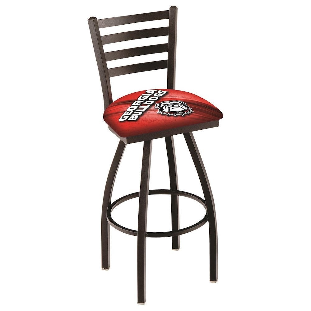 """L014 - 25"""" Black Wrinkle Georgia """"Bulldog"""" Swivel Bar Stool with Ladder Style Back by Holland Bar Stool Co.. Picture 1"""