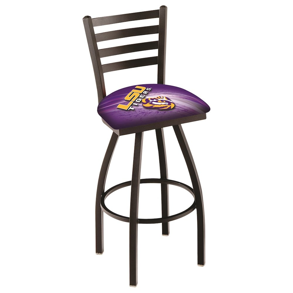 """L014 - 25"""" Black Wrinkle Louisiana State Swivel Bar Stool with Ladder Style Back by Holland Bar Stool Co.. Picture 1"""