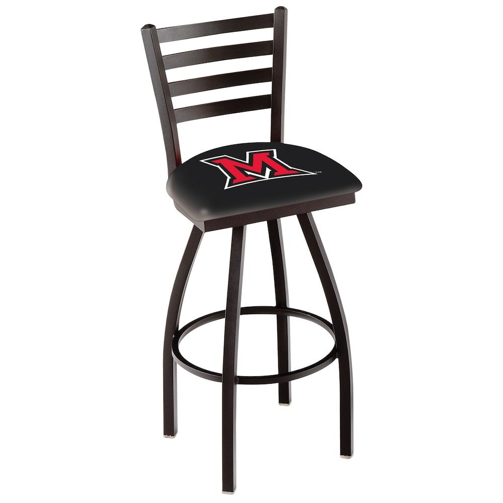 "L014 - 25"" Black Wrinkle Miami (OH) Swivel Bar Stool with Ladder Style Back by Holland Bar Stool Co.. Picture 1"