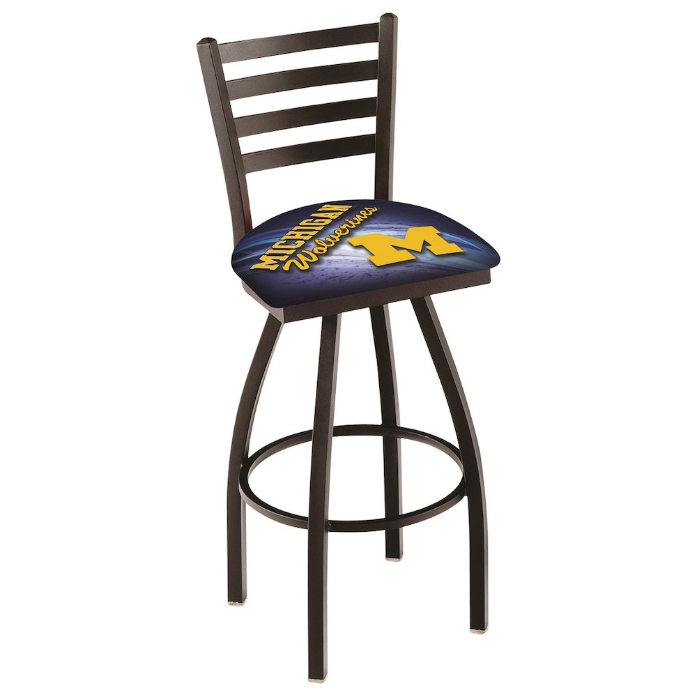 """L014 - 36"""" Black Wrinkle Michigan Swivel Bar Stool with Ladder Style Back by Holland Bar Stool Co.. Picture 1"""