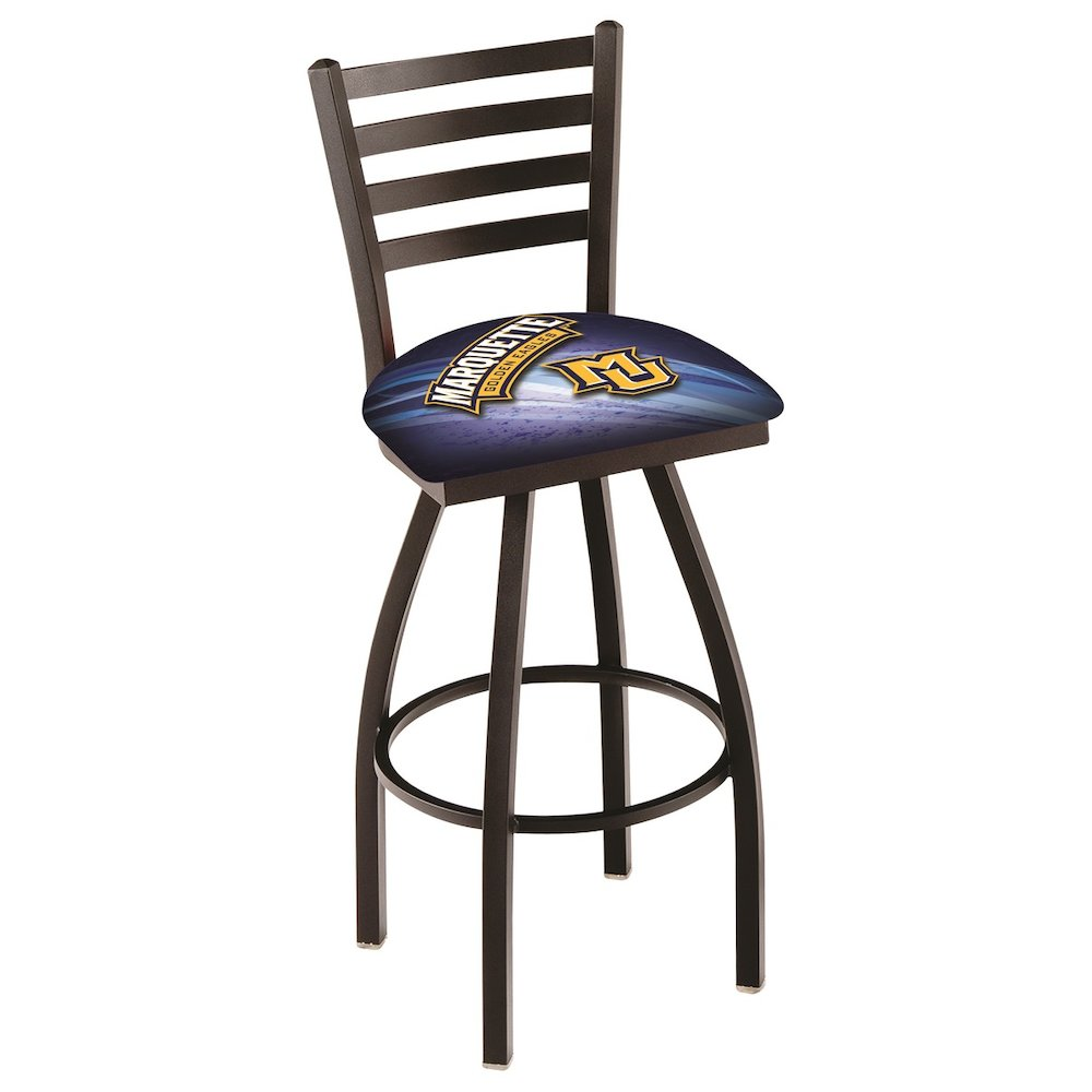 """L014 - 25"""" Black Wrinkle Marquette Swivel Bar Stool with Ladder Style Back by Holland Bar Stool Co.. Picture 1"""