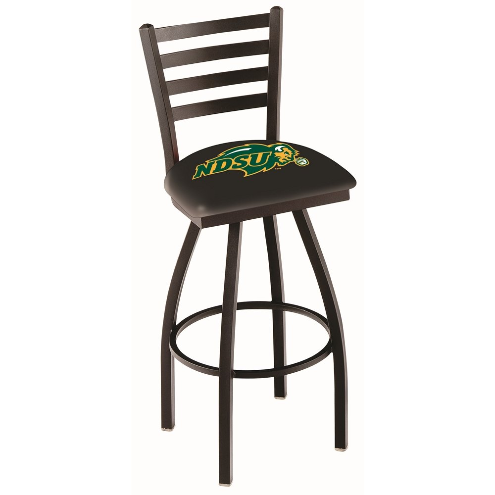 """L014 - 25"""" Black Wrinkle North Dakota State Swivel Bar Stool with Ladder Style Back by Holland Bar Stool Co.. Picture 1"""