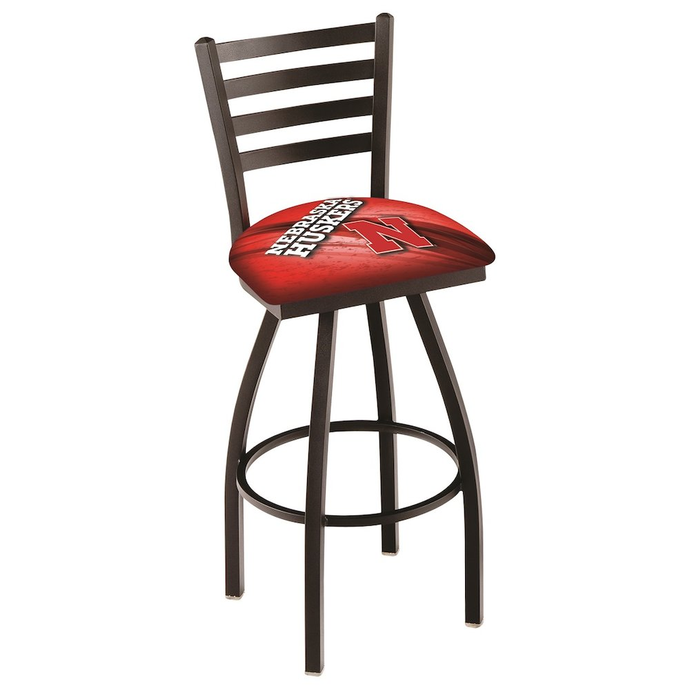 "L014 - 30"" Black Wrinkle Nebraska Swivel Bar Stool with Ladder Style Back by Holland Bar Stool Co.. Picture 1"