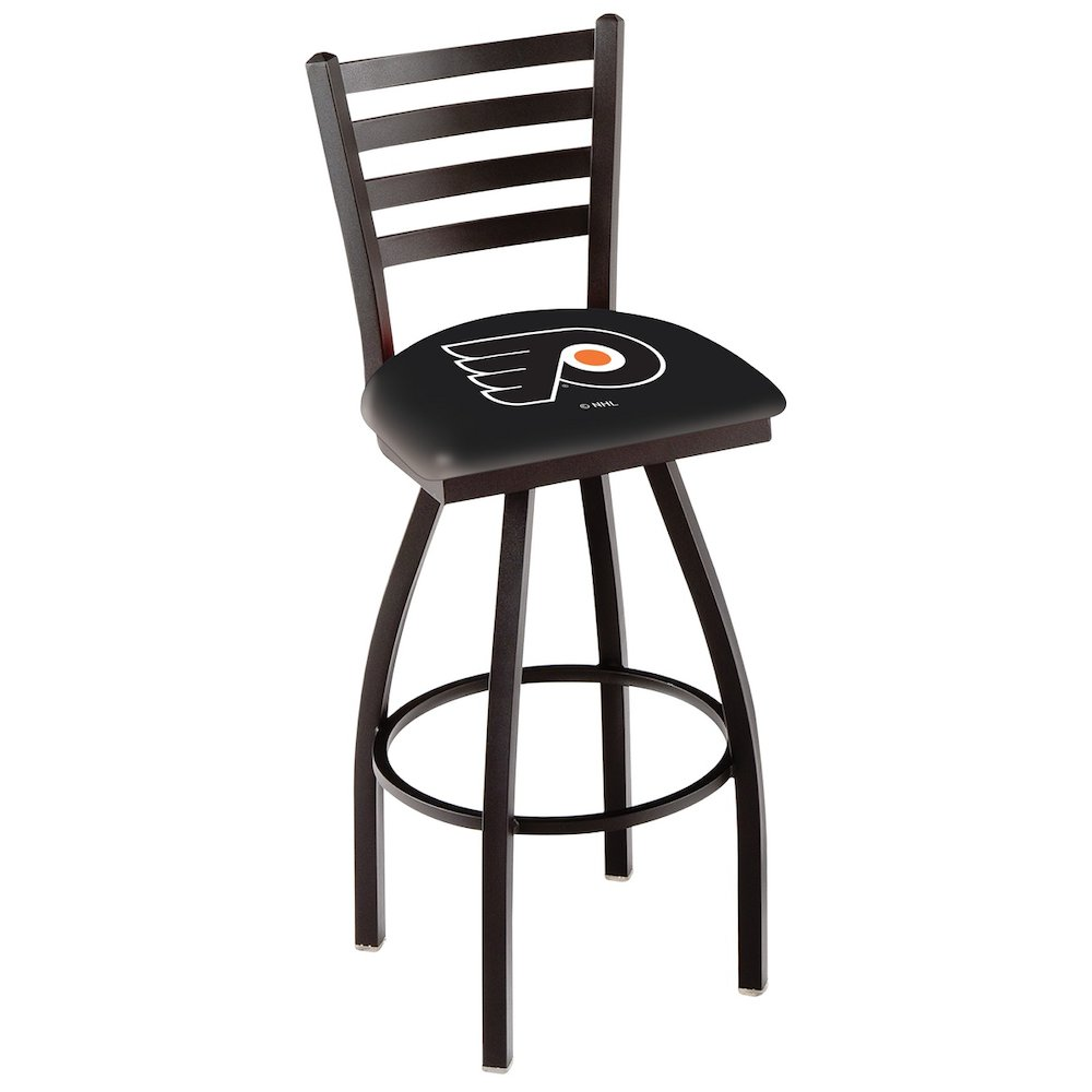 """L014 - 36"""" Black Wrinkle Philadelphia Flyers Swivel Bar Stool with Ladder Style Back by Holland Bar Stool Co.. Picture 1"""