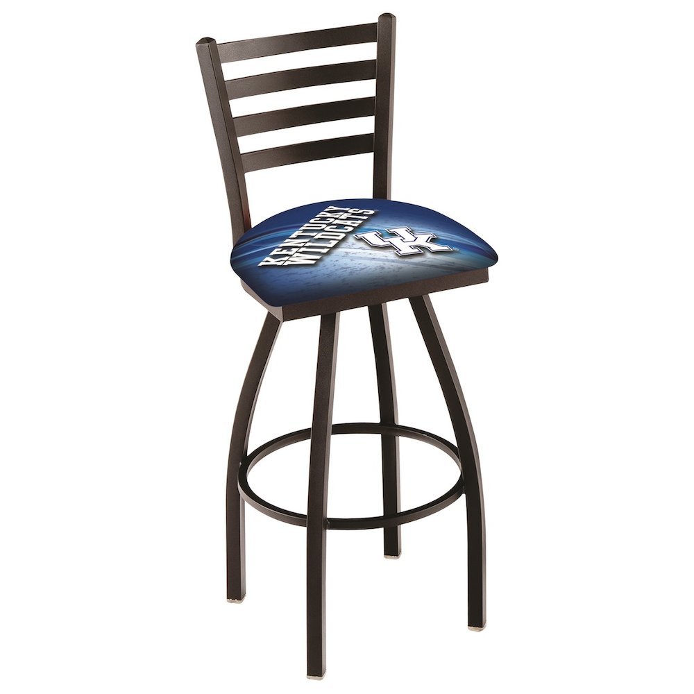 """L014 - 30"""" Black Wrinkle Kentucky """"UK"""" Swivel Bar Stool with Ladder Style Back by Holland Bar Stool Co.. Picture 1"""