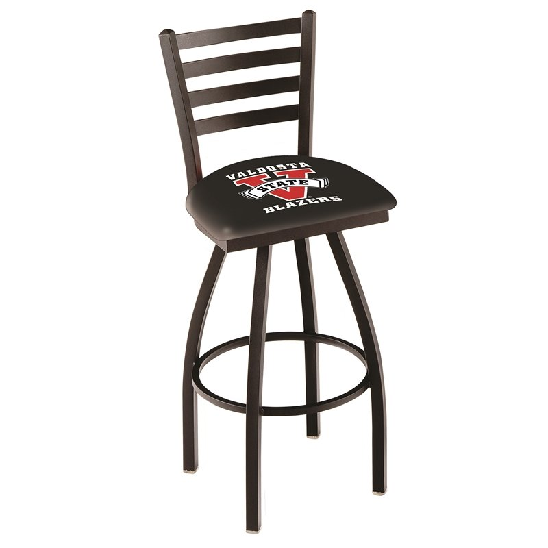 """L014 - 36"""" Black Wrinkle Valdosta State Swivel Bar Stool with Ladder Style Back by Holland Bar Stool Co.. Picture 1"""