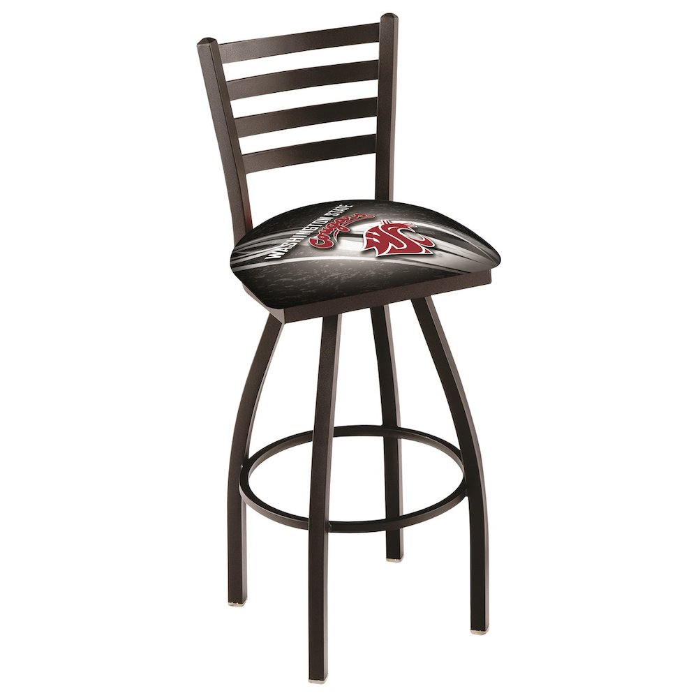 """L014 - 36"""" Black Wrinkle Washington State Swivel Bar Stool with Ladder Style Back by Holland Bar Stool Co.. Picture 1"""