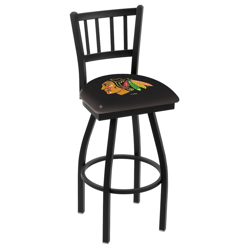 "L018 - 36"" Black Wrinkle Chicago Blackhawks Swivel Bar Stool with Jailhouse Style Back by Holland Bar Stool Co.. Picture 1"