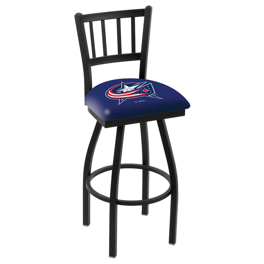 "L018 - 36"" Black Wrinkle Columbus Blue Jackets Swivel Bar Stool with Jailhouse Style Back by Holland Bar Stool Co.. Picture 1"