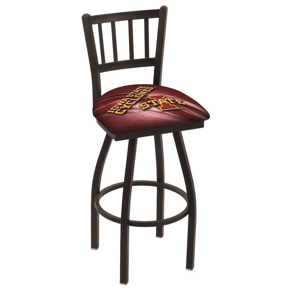 """L018 - 36"""" Black Wrinkle Iowa State Swivel Bar Stool with Jailhouse Style Back by Holland Bar Stool Co.. Picture 1"""
