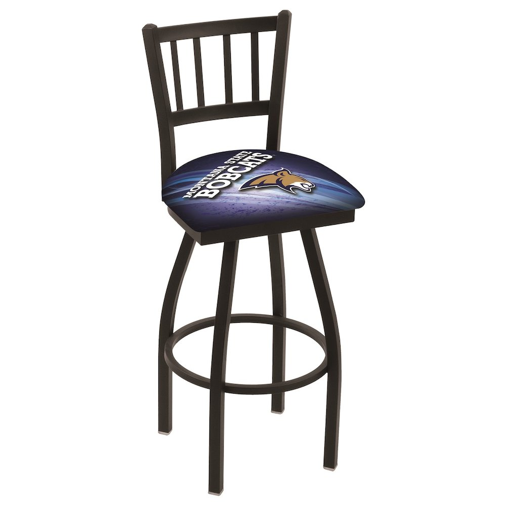 """L018 - 36"""" Black Wrinkle Montana State Swivel Bar Stool with Jailhouse Style Back by Holland Bar Stool Co.. Picture 1"""