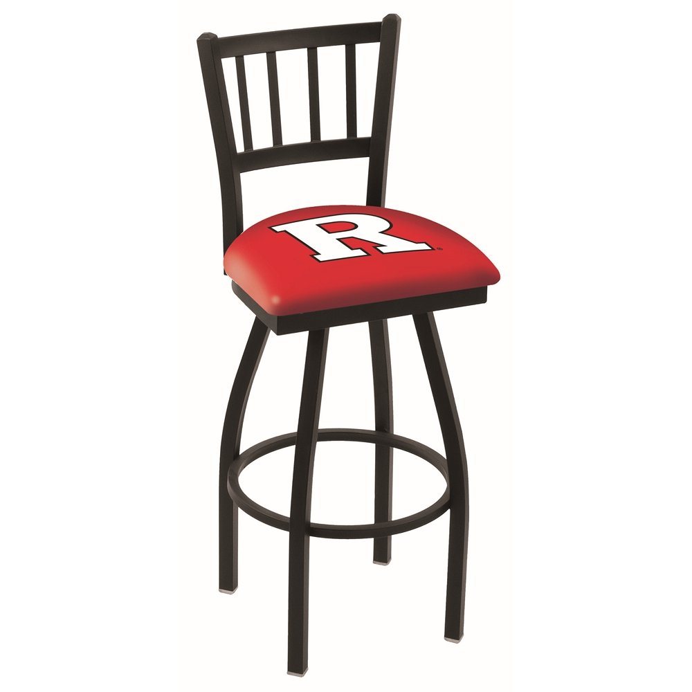 """L018 - 25"""" Black Wrinkle Rutgers Swivel Bar Stool with Jailhouse Style Back by Holland Bar Stool Co.. Picture 1"""