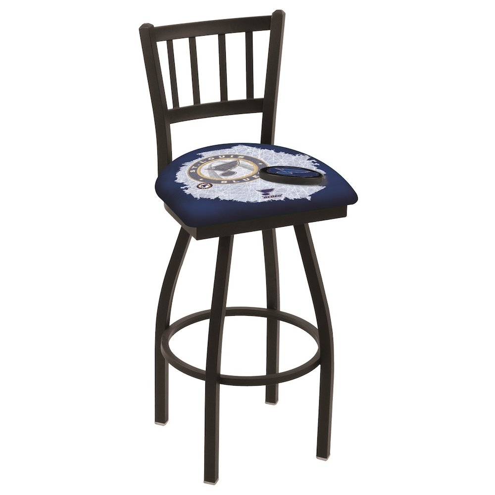 L018 30 Black Wrinkle St Louis Blues Swivel Bar Stool With Jailhouse Style Back By Holland