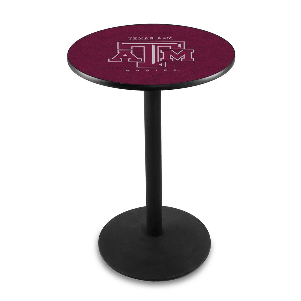 "L214 - 42"" Black Wrinkle Texas A&M Pub Table by Holland Bar Stool Co.. Picture 1"
