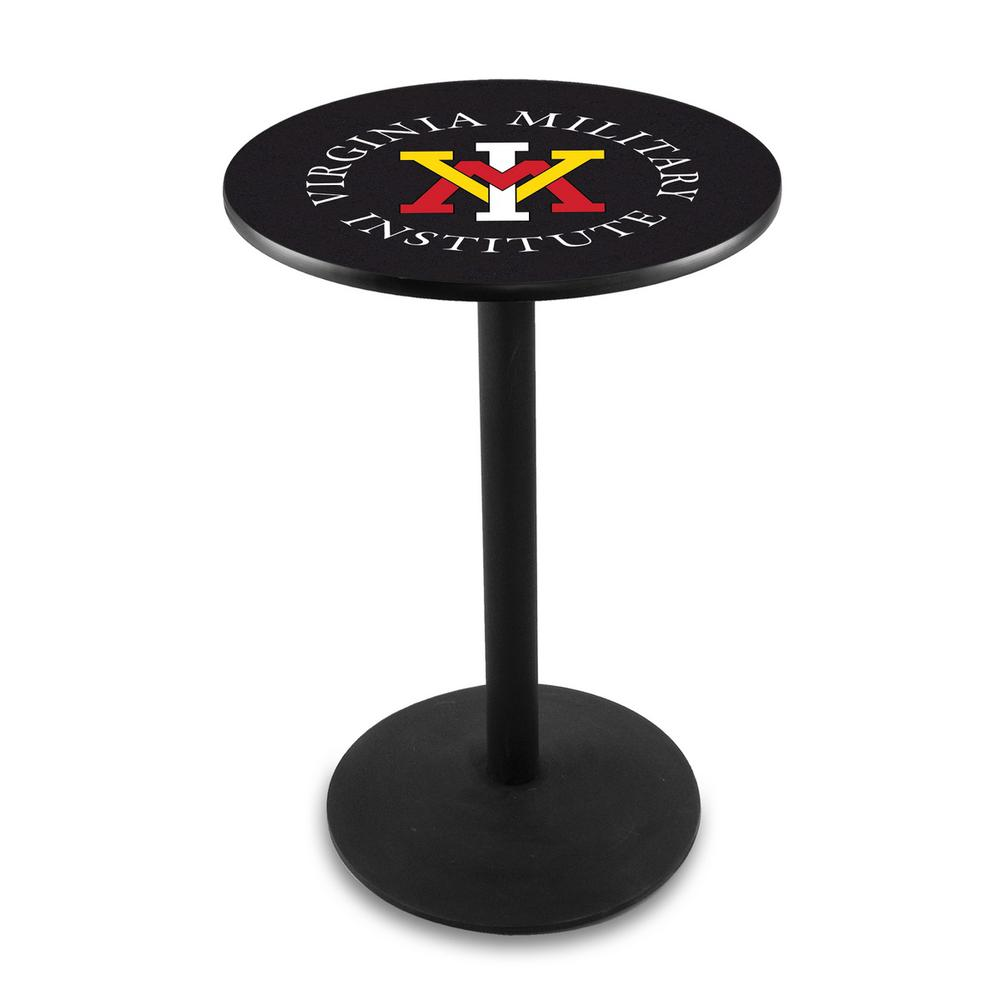 "L214 - 42"" Black Wrinkle Virginia Military Institute Pub Table by Holland Bar Stool Co.. Picture 1"