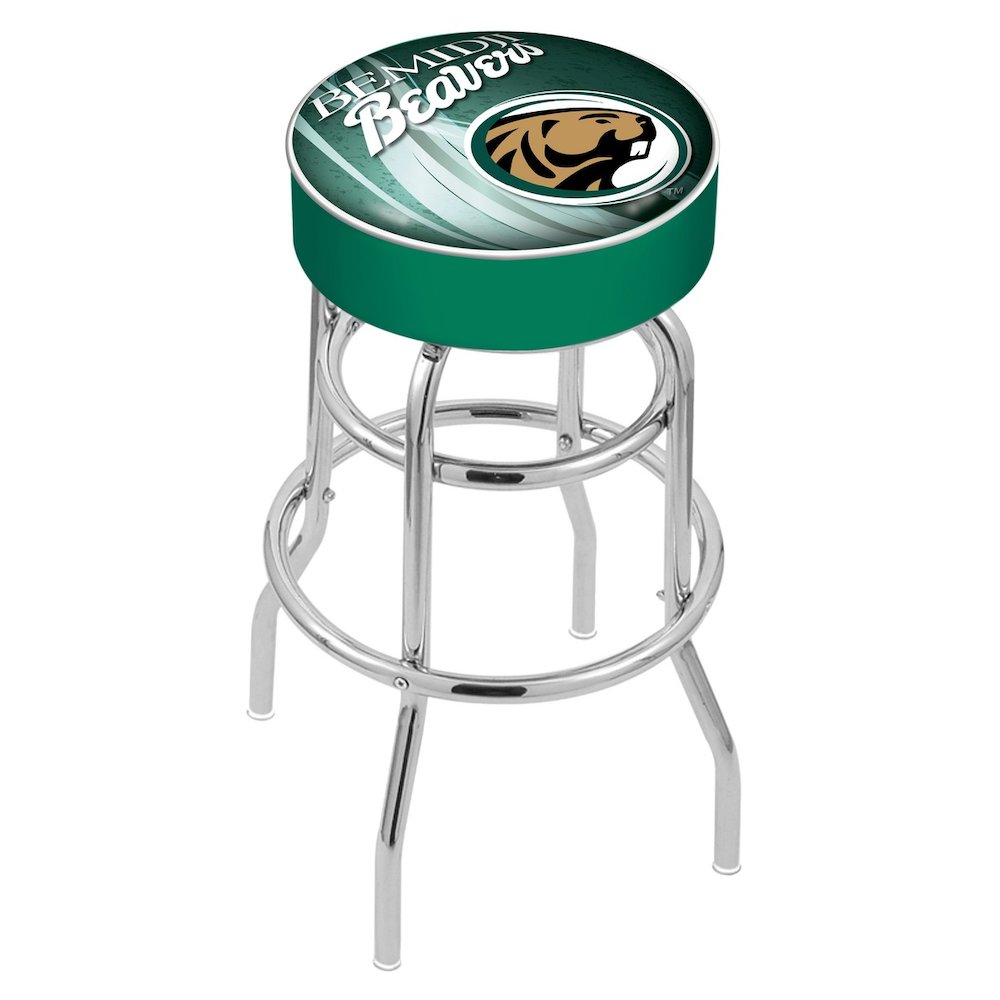 """25"""" L7C1 - 4"""" Bemidji State Cushion Seat with Double-Ring Chrome Base Swivel Bar Stool by Holland Bar Stool Company. Picture 1"""
