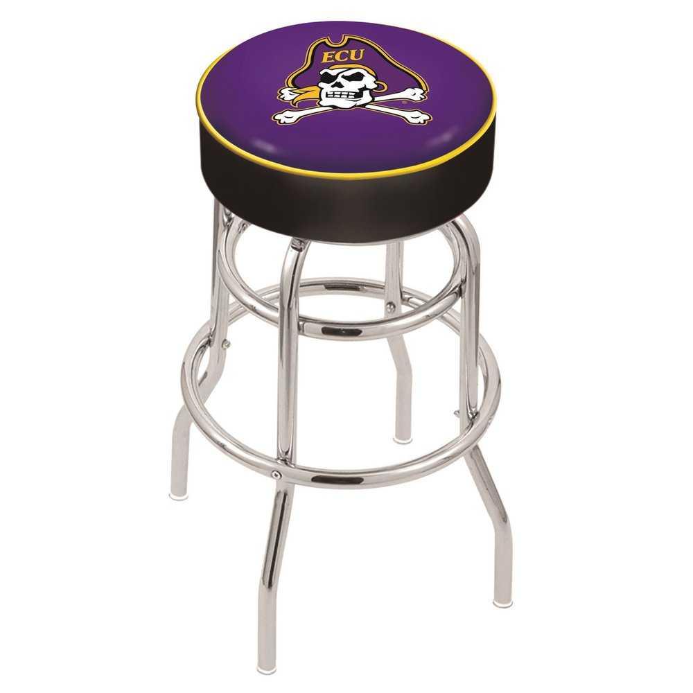 """30"""" L7C1 - 4"""" East Carolina Cushion Seat with Double-Ring Chrome Base Swivel Bar Stool by Holland Bar Stool Company. Picture 1"""