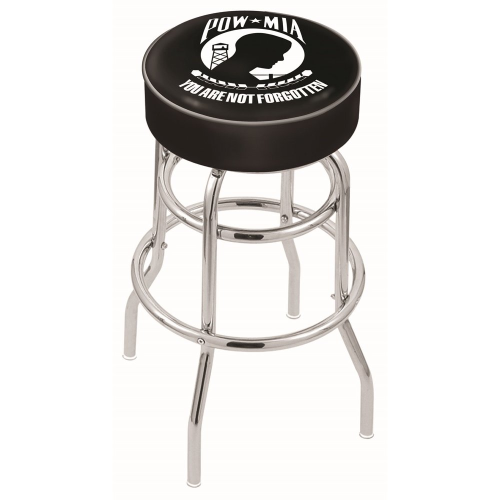"""30"""" L7C1 - 4"""" POW/MIA Cushion Seat with Double-Ring Chrome Base Swivel Bar Stool by Holland Bar Stool Company. Picture 1"""