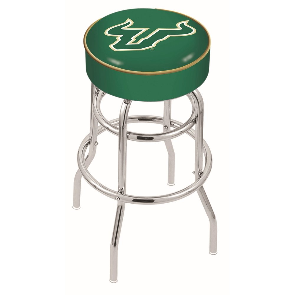 """25"""" L7C1 - 4"""" South Florida Cushion Seat with Double-Ring Chrome Base Swivel Bar Stool by Holland Bar Stool Company. Picture 1"""