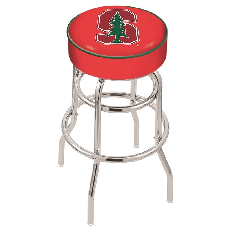 """25"""" L7C1 - 4"""" Stanford Cushion Seat with Double-Ring Chrome Base Swivel Bar Stool by Holland Bar Stool Company. Picture 1"""
