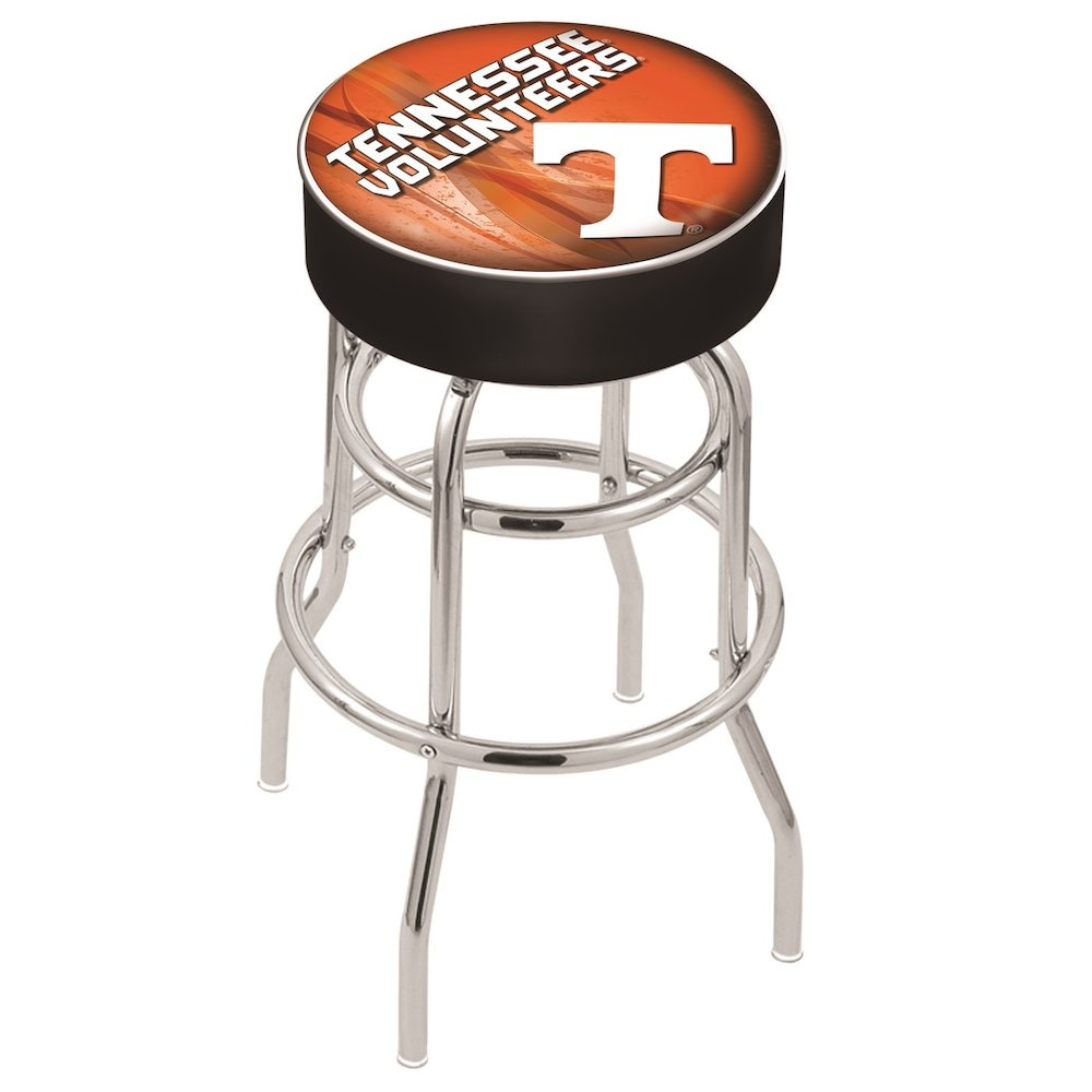 "30"" L7C1 - 4"" Tennessee Cushion Seat with Double-Ring Chrome Base Swivel Bar Stool by Holland Bar Stool Company. Picture 1"