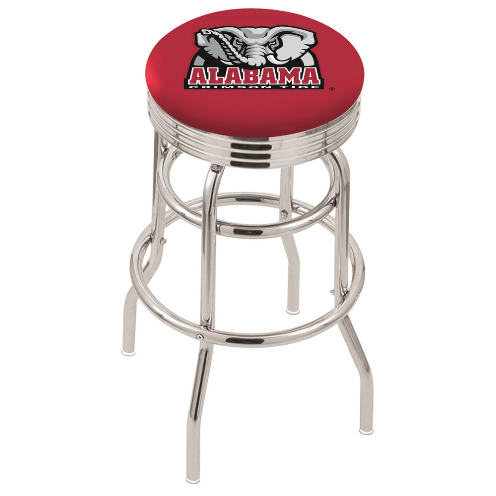 "30"" L7C3C - Chrome Double Ring Alabama Swivel Bar Stool with 2.5"" Ribbed Accent Ring by Holland Bar Stool Company. Picture 1"