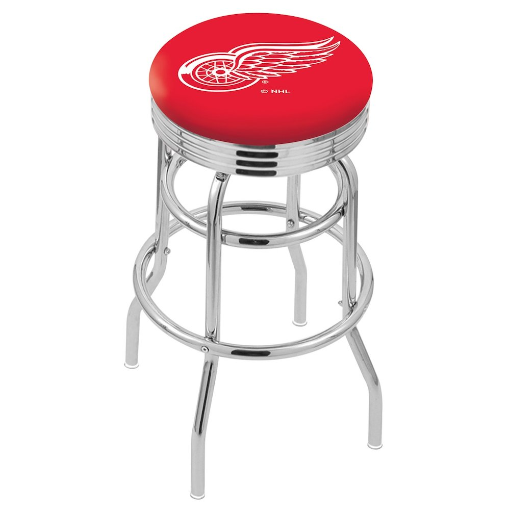 """25"""" L7C3C - Chrome Double Ring Detroit Red Wings Swivel Bar Stool with 2.5"""" Ribbed Accent Ring by Holland Bar Stool Company. Picture 1"""