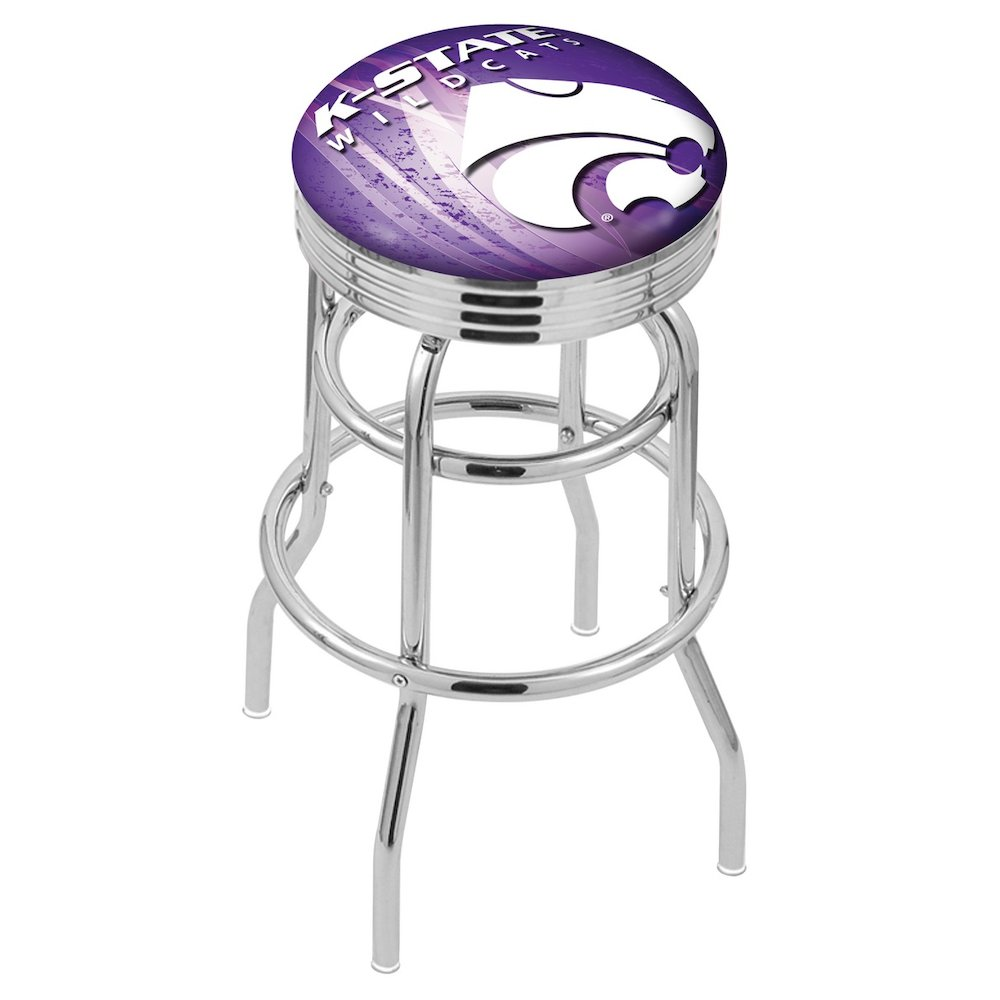 """25"""" L7C3C - Chrome Double Ring Kansas State Swivel Bar Stool with 2.5"""" Ribbed Accent Ring by Holland Bar Stool Company. Picture 1"""