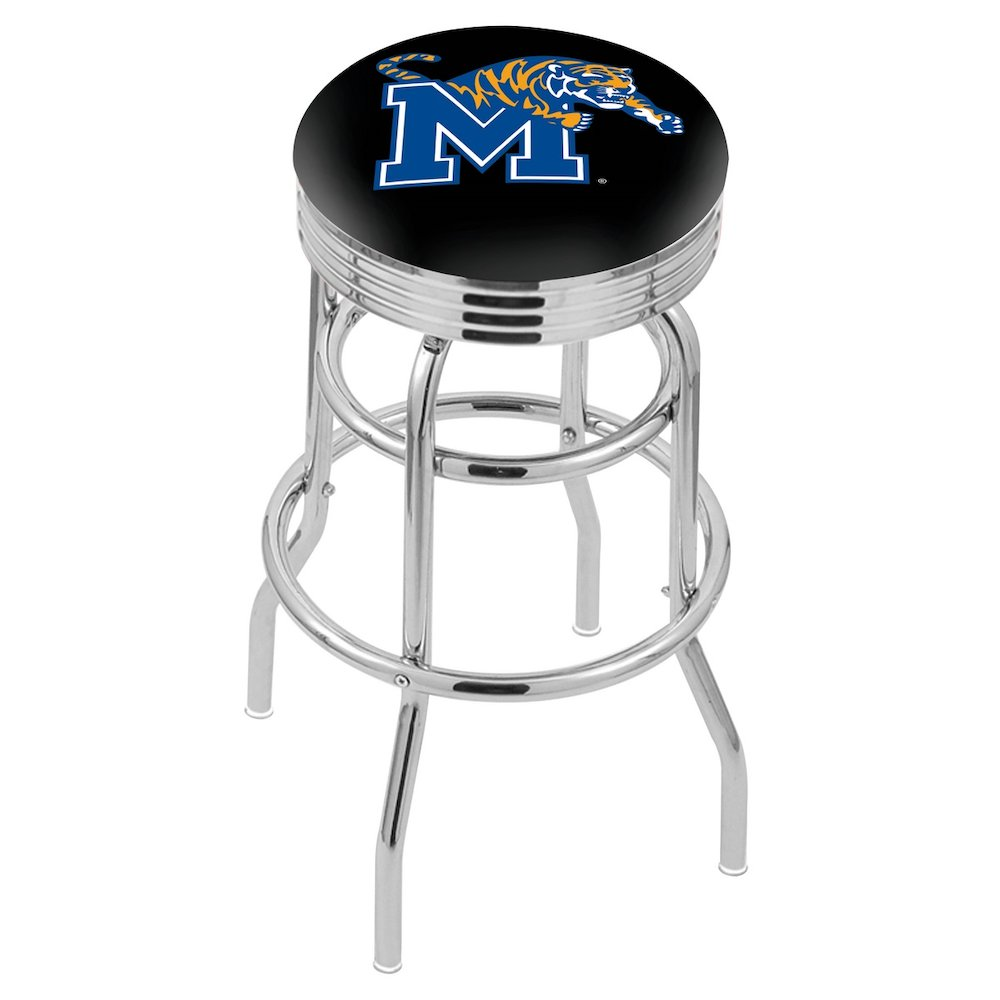 """25"""" L7C3C - Chrome Double Ring Memphis Swivel Bar Stool with 2.5"""" Ribbed Accent Ring by Holland Bar Stool Company. Picture 1"""