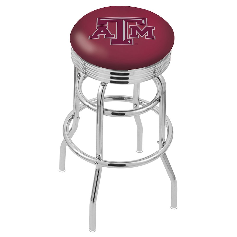"""30"""" L7C3C - Chrome Double Ring Texas A&M Swivel Bar Stool with 2.5"""" Ribbed Accent Ring by Holland Bar Stool Company. Picture 1"""