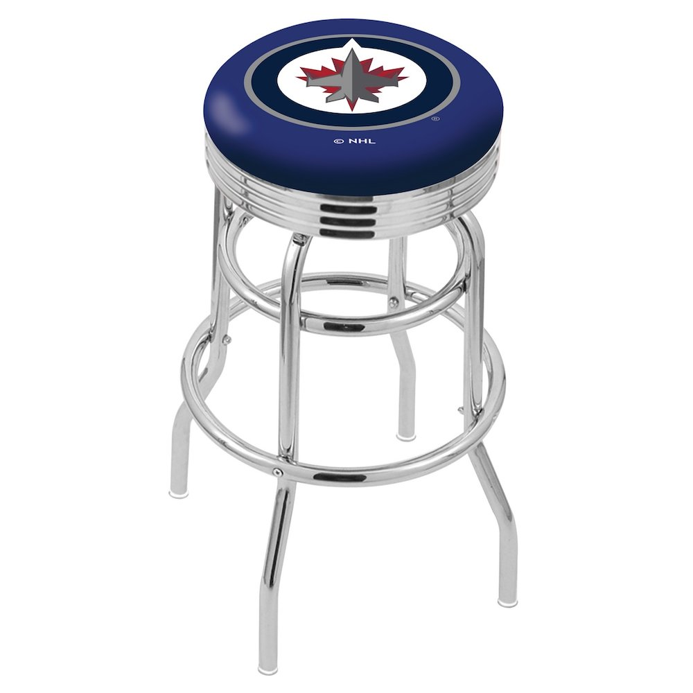"""30"""" L7C3C - Chrome Double Ring Winnipeg Jets Swivel Bar Stool with 2.5"""" Ribbed Accent Ring by Holland Bar Stool Company. Picture 1"""
