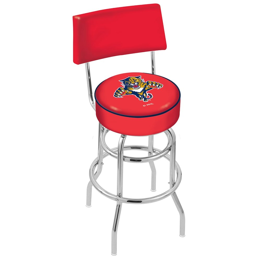 """25"""" L7C4 - Chrome Double Ring Florida Panthers Swivel Bar Stool with a Back by Holland Bar Stool Company. Picture 1"""