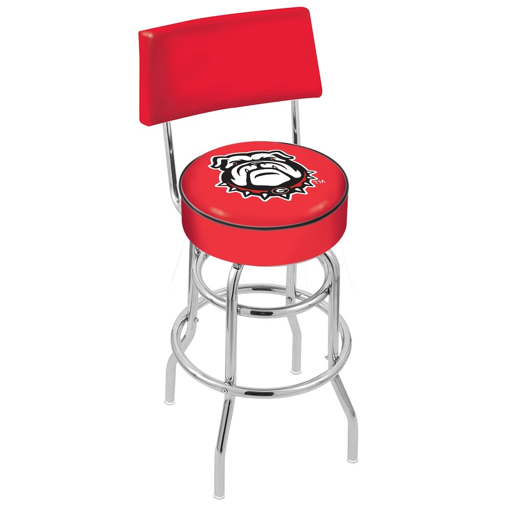 """25"""" L7C4 - Chrome Double Ring Georgia """"Bulldog"""" Swivel Bar Stool with a Back by Holland Bar Stool Company. Picture 1"""