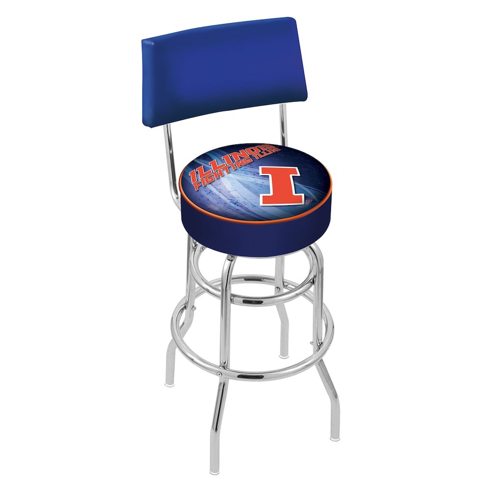 "25"" L7C4 - Chrome Double Ring Illinois Swivel Bar Stool with a Back by Holland Bar Stool Company. Picture 1"