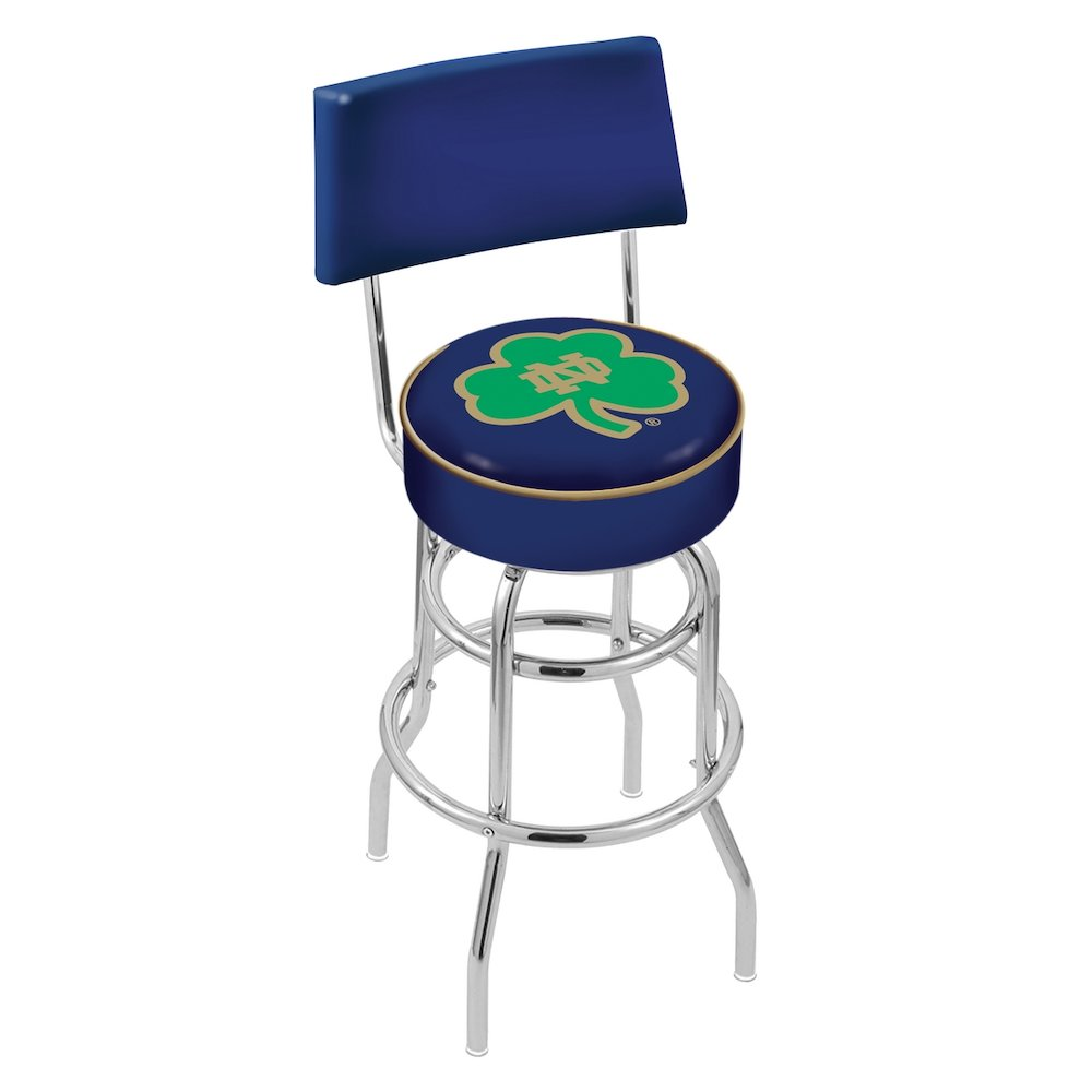 """30"""" L7C4 - Chrome Double Ring Notre Dame (Shamrock) Swivel Bar Stool with a Back by Holland Bar Stool Company. Picture 1"""