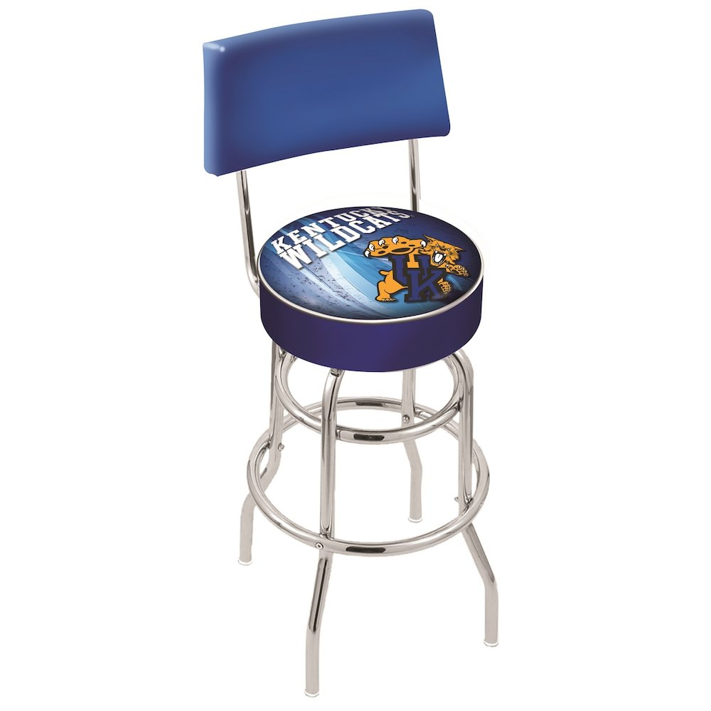 "25"" L7C4 - Chrome Double Ring Kentucky ""Wildcat"" Swivel Bar Stool with a Back by Holland Bar Stool Company. Picture 1"