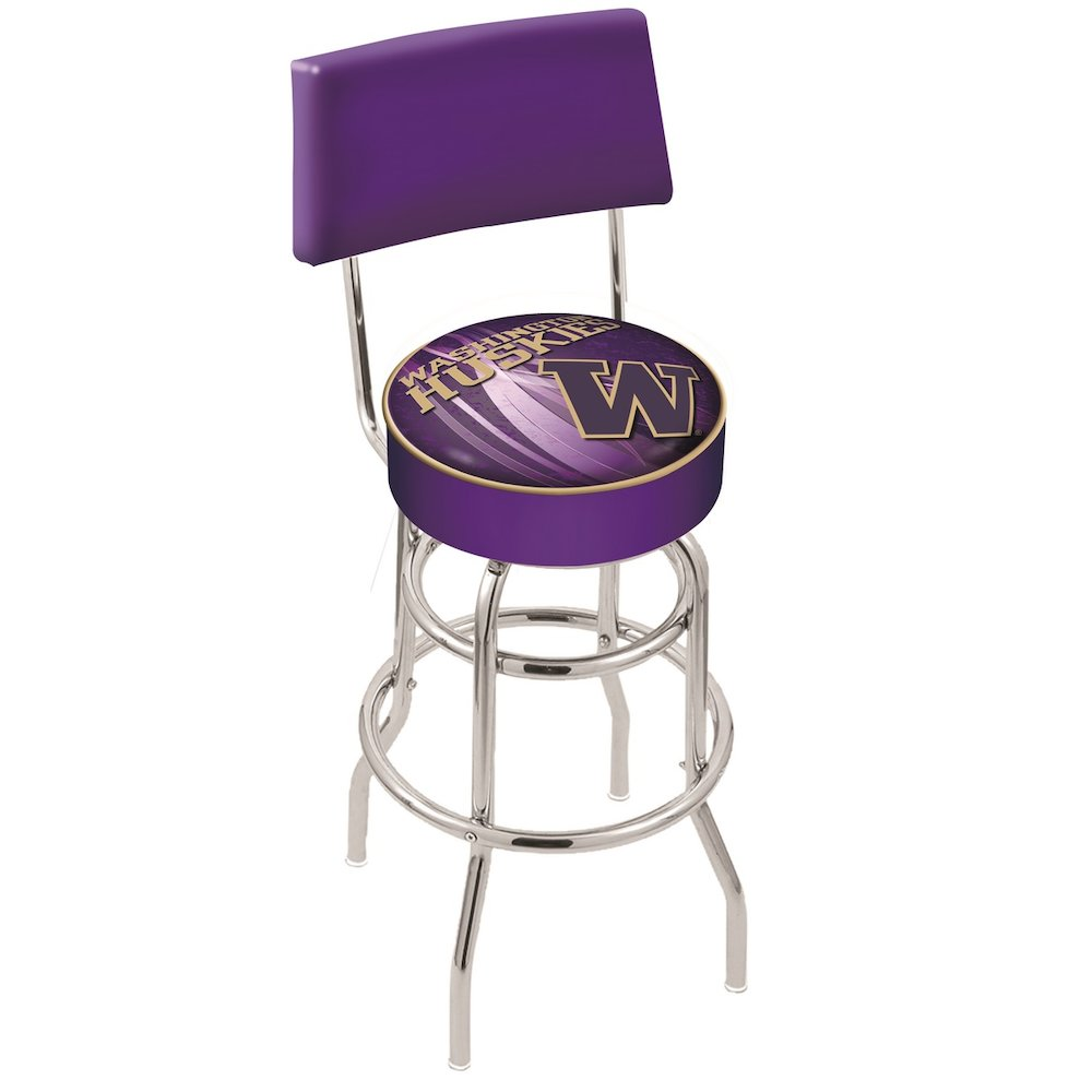 """25"""" L7C4 - Chrome Double Ring Washington Swivel Bar Stool with a Back by Holland Bar Stool Company. Picture 1"""