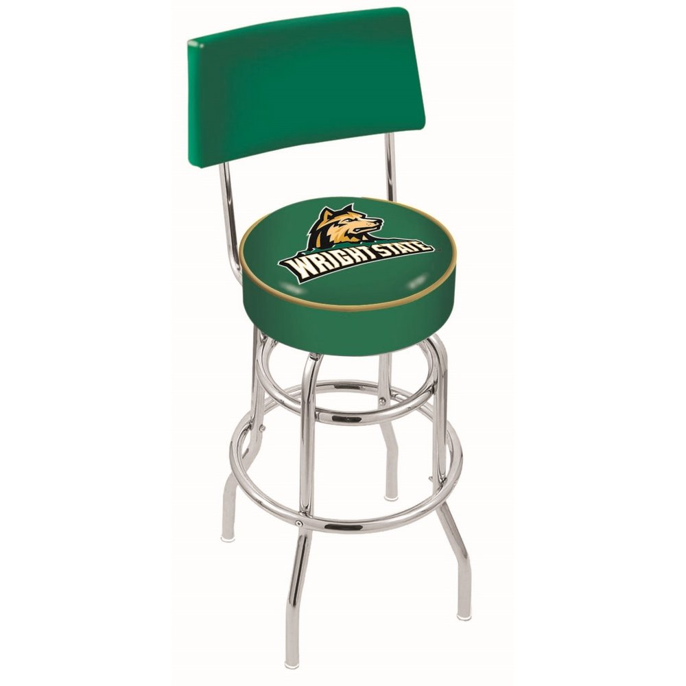 """25"""" L7C4 - Chrome Double Ring Wright State Swivel Bar Stool with a Back by Holland Bar Stool Company. Picture 1"""