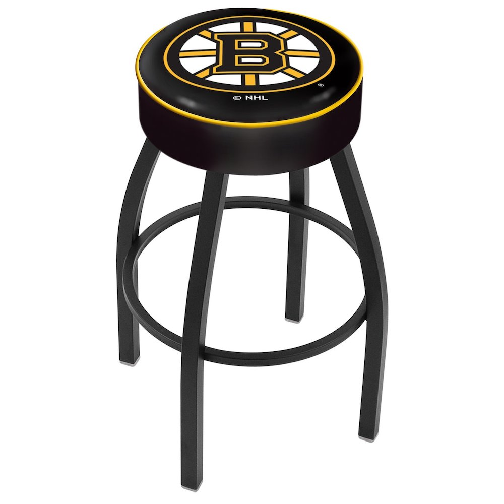 "30"" L8B1 - 4"" Boston Bruins Cushion Seat with Black Wrinkle Base Swivel Bar Stool by Holland Bar Stool Company. Picture 1"