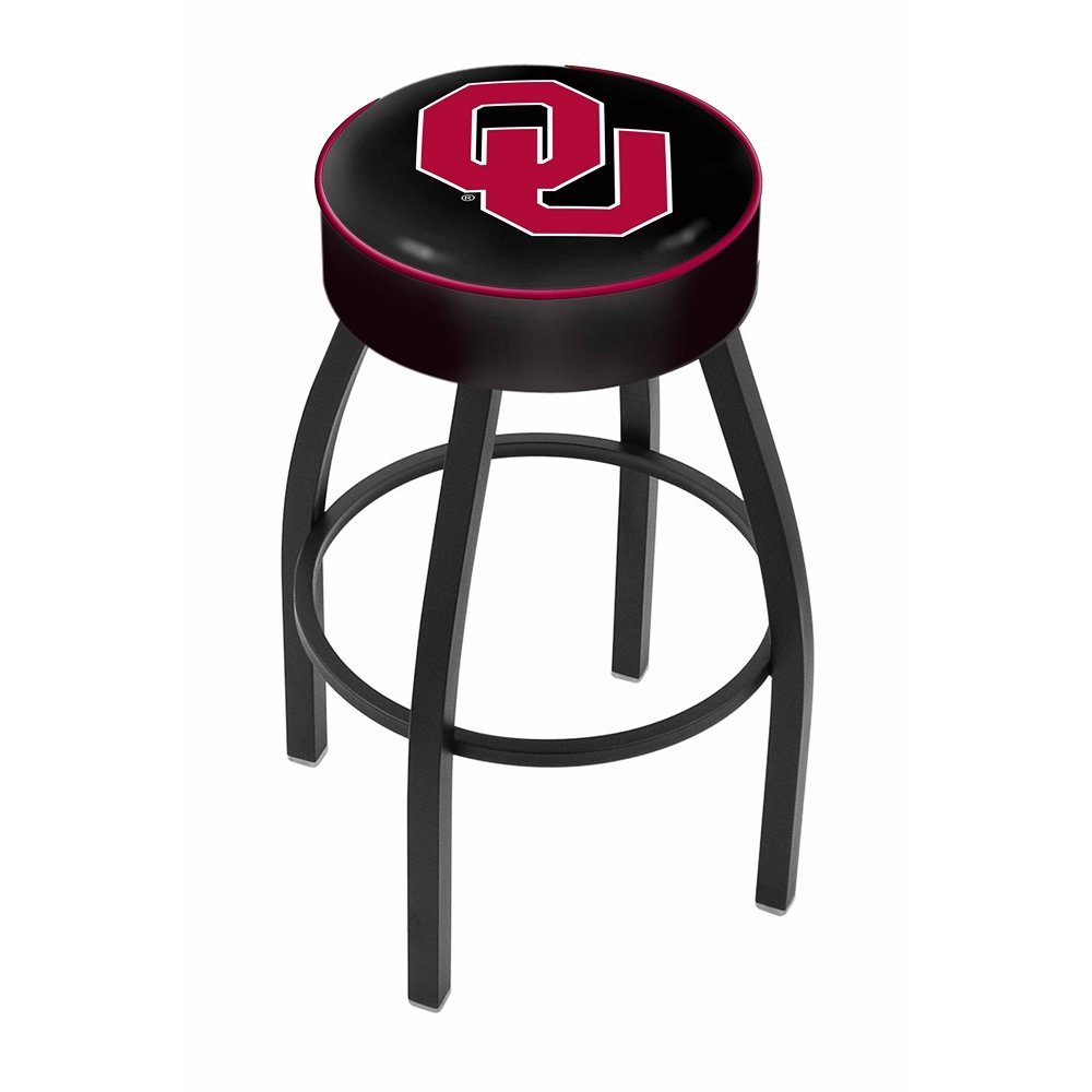 """25"""" L8B1 - 4"""" Oklahoma Cushion Seat with Black Wrinkle Base Swivel Bar Stool by Holland Bar Stool Company. Picture 1"""
