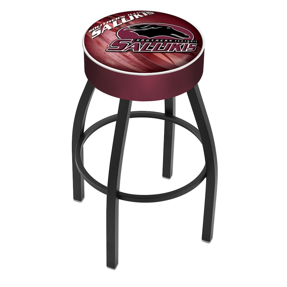 """25"""" L8B1 - 4"""" Southern Illinois Cushion Seat with Black Wrinkle Base Swivel Bar Stool by Holland Bar Stool Company. Picture 1"""