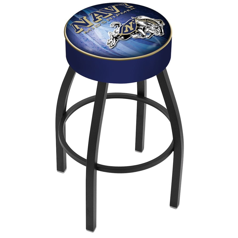 "25"" L8B1 - 4"" US Naval Academy (NAVY) Cushion Seat with Black Wrinkle Base Swivel Bar Stool by Holland Bar Stool Company. Picture 1"