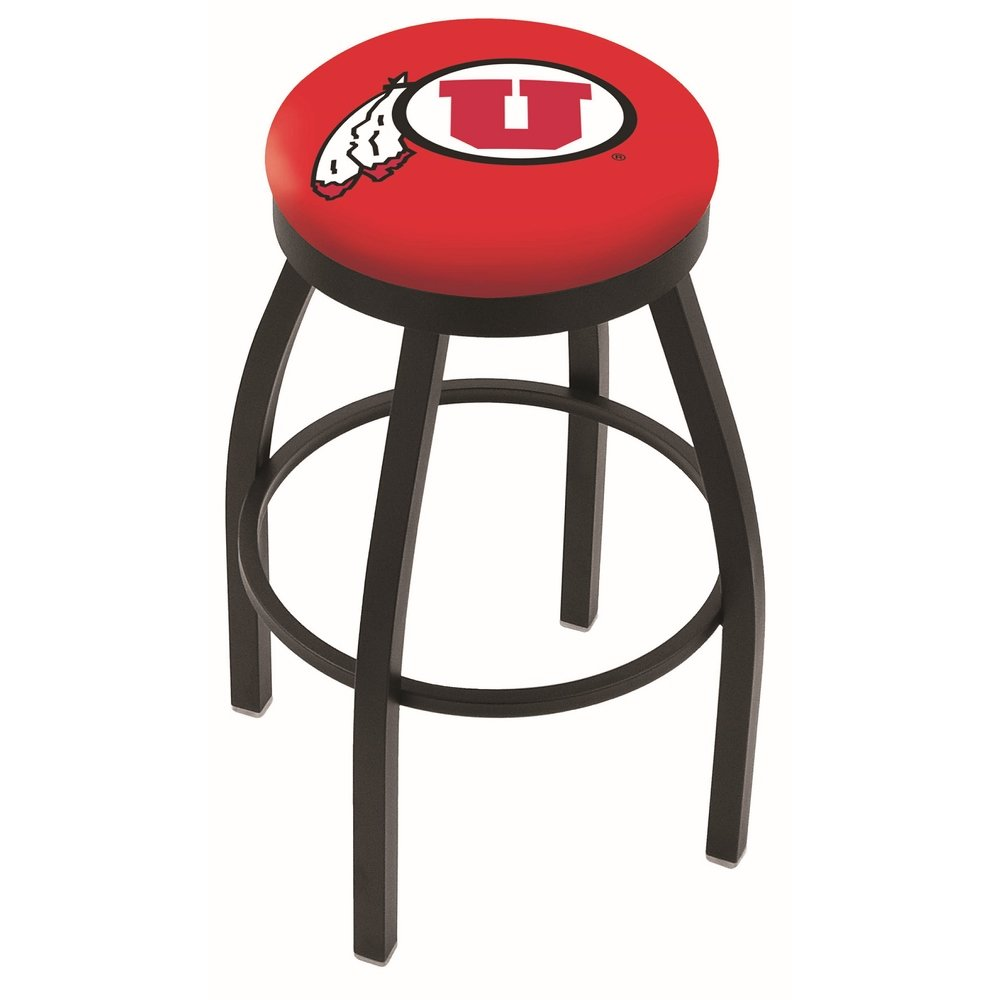 """25"""" L8B2B - Black Wrinkle Utah Swivel Bar Stool with Accent Ring by Holland Bar Stool Company. Picture 1"""