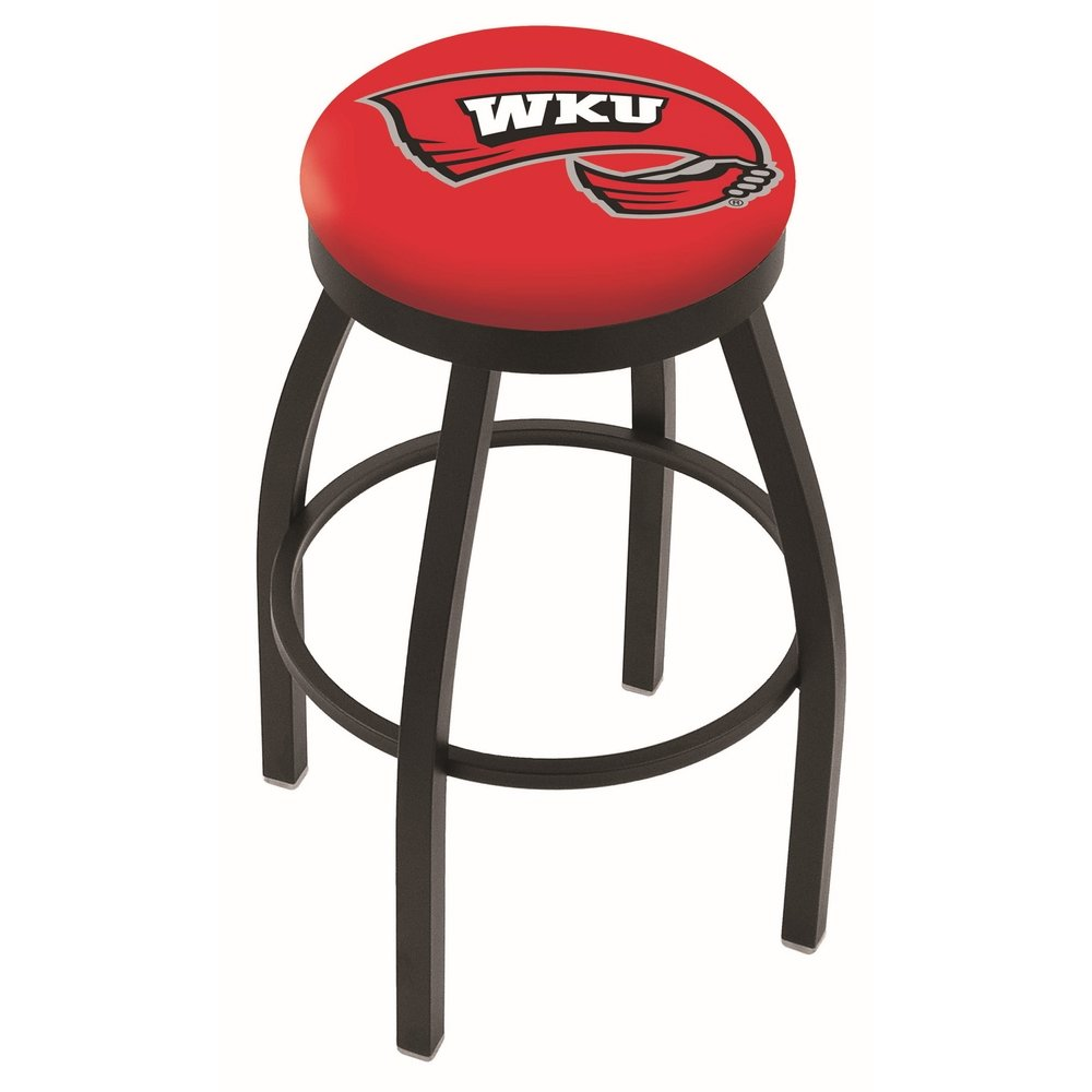 """30"""" L8B2B - Black Wrinkle Western Kentucky Swivel Bar Stool with Accent Ring by Holland Bar Stool Company. Picture 1"""