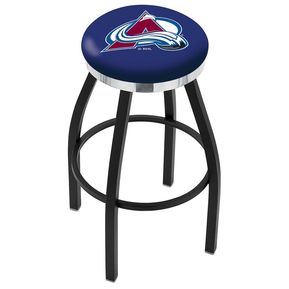 """30"""" L8B2C - Black Wrinkle Colorado Avalanche Swivel Bar Stool with Chrome Accent Ring by Holland Bar Stool Company. Picture 1"""