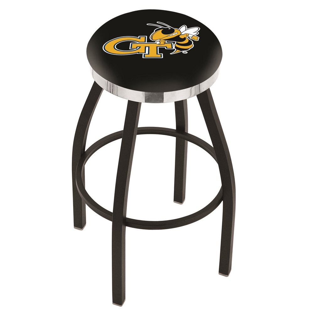 "25"" L8B2C - Black Wrinkle Georgia Tech Swivel Bar Stool with Chrome Accent Ring by Holland Bar Stool Company. Picture 1"