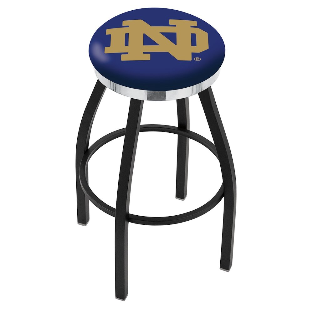 """36"""" L8B2C - Black Wrinkle Notre Dame (ND) Swivel Bar Stool with Chrome Accent Ring by Holland Bar Stool Company. Picture 1"""